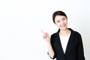 asian businesswoman showing on white background